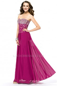 A-Line Sweetheart Beaded Long Chiffon Prom Evening Formal Party Dresses ED010561