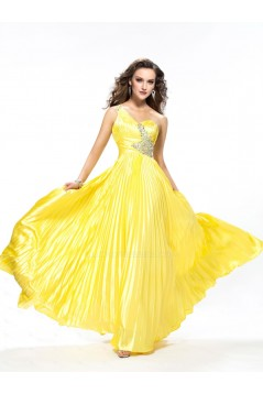 A-Line One-Shoulder Beaded Long Yellow Prom Evening Formal Party Dresses ED010563