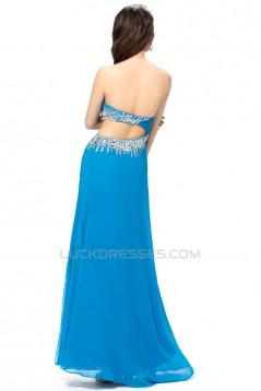Sheath/Column Sweetheart Long Blue Beaded Prom Evening Formal Party Dresses ED010564