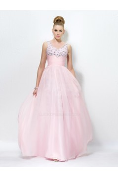 A-Line Beaded Long Pink Prom Evening Formal Party Dresses ED010566