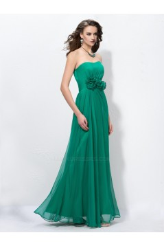 Sheath/Column Strapless Long Green Chiffon Prom Evening Formal Party Dresses ED010568
