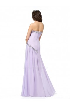 A-Line Strapless Beaded Long Chiffon Prom Evening Formal Party Dresses ED010569