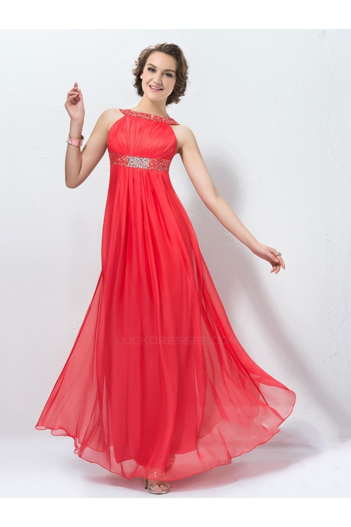 Empire Beaded Long Red Chiffon Prom Evening Formal Party Dresses ED010572