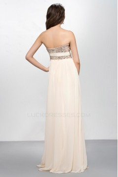 A-Line Strapless Beaded Long Chiffon Prom Evening Formal Party Dresses ED010573