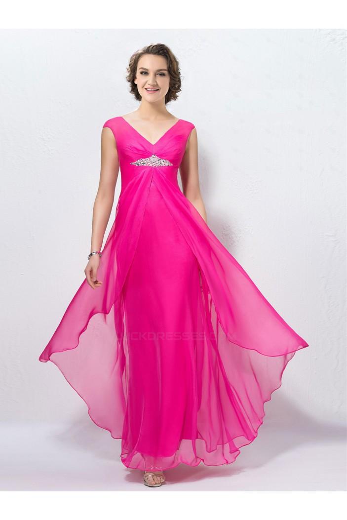 Sheath V-Neck Long Pink Beaded Chiffon Prom Evening Formal Party Dresses ED010574