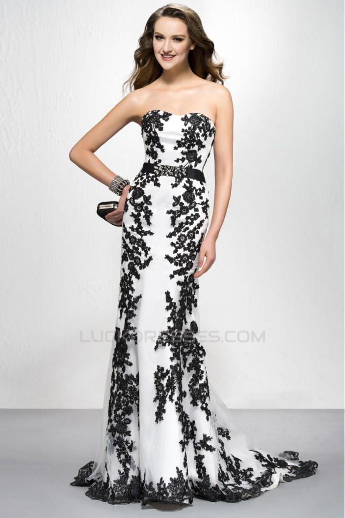 Elegant Black White Appliques Long Prom Evening Formal Party Dresses ED010576