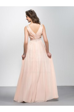 A-Line V-Neck Beaded Long Chiffon Prom Evening Formal Party Dresses ED010577