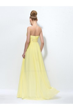 A-Line Strapless Beaded Long Chiffon Prom Evening Formal Party Dresses ED010578