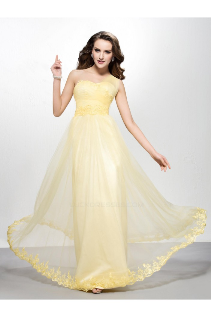 A-Line One-Shoulder Long Prom Evening Formal Party Dresses ED010579