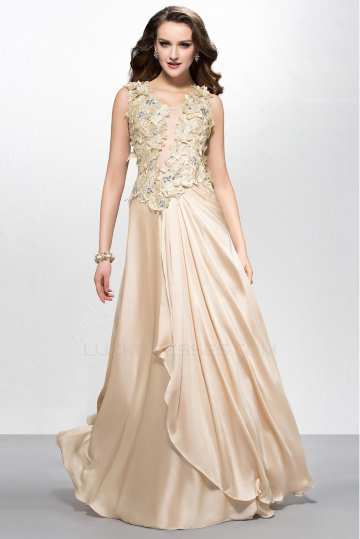 A-Line Beaded Long Chiffon Prom Evening Formal Party Dresses ED010581