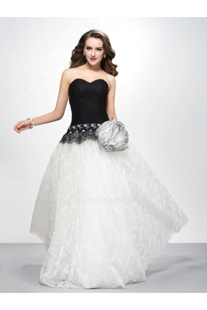 A-Line Sweetheart Black White Prom Evening Formal Party Dresses ED010582