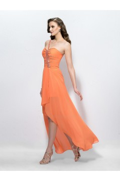 High Low One-Shoulder Short Beaded Chiffon Prom Evening Formal Party Dresses ED010585