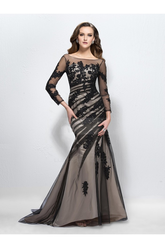 Vintage Appliques Trumpet Bateau Neck 3/4-Length Sleeves Long Prom Evening Formal Party Dresses ED010586