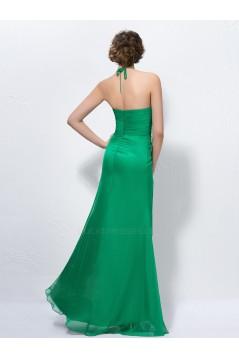 Halter Long Green Chiffon Beaded Prom Evening Formal Party Dresses ED010587