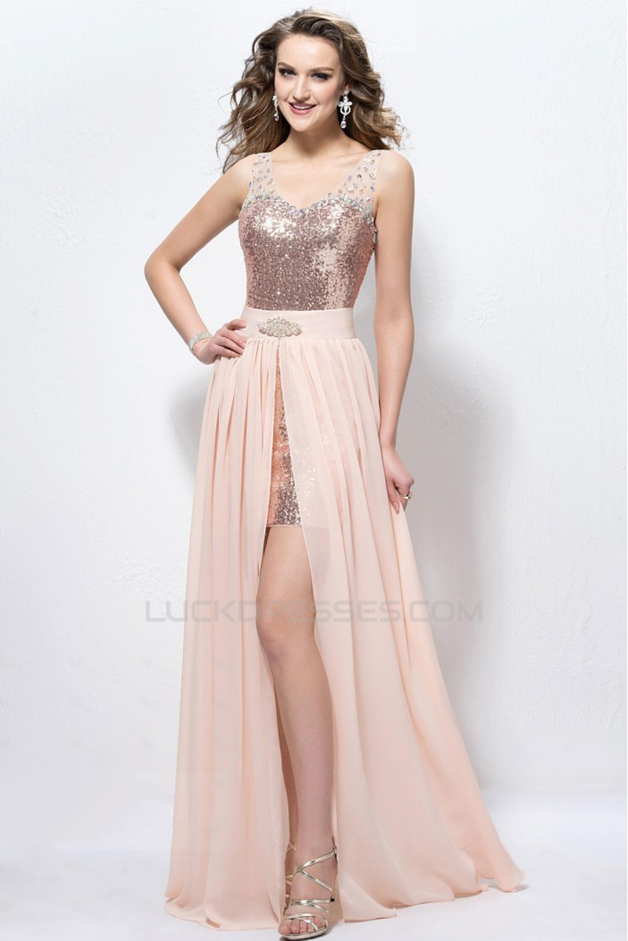 Modest Beaded Sequins Prom Evening Formal Party Dresses ED010589