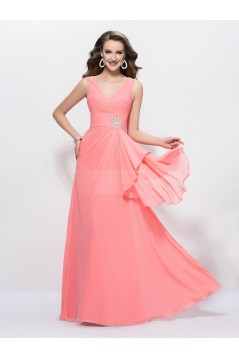 A-Line V-Neck Long Chiffon Prom Evening Formal Party Dresses ED010590