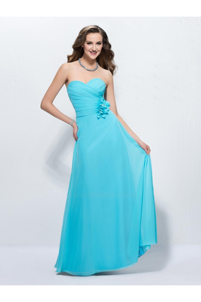 A-Line Sweetheart Long Blue Chiffon Prom Evening Formal Party Dresses ED010591