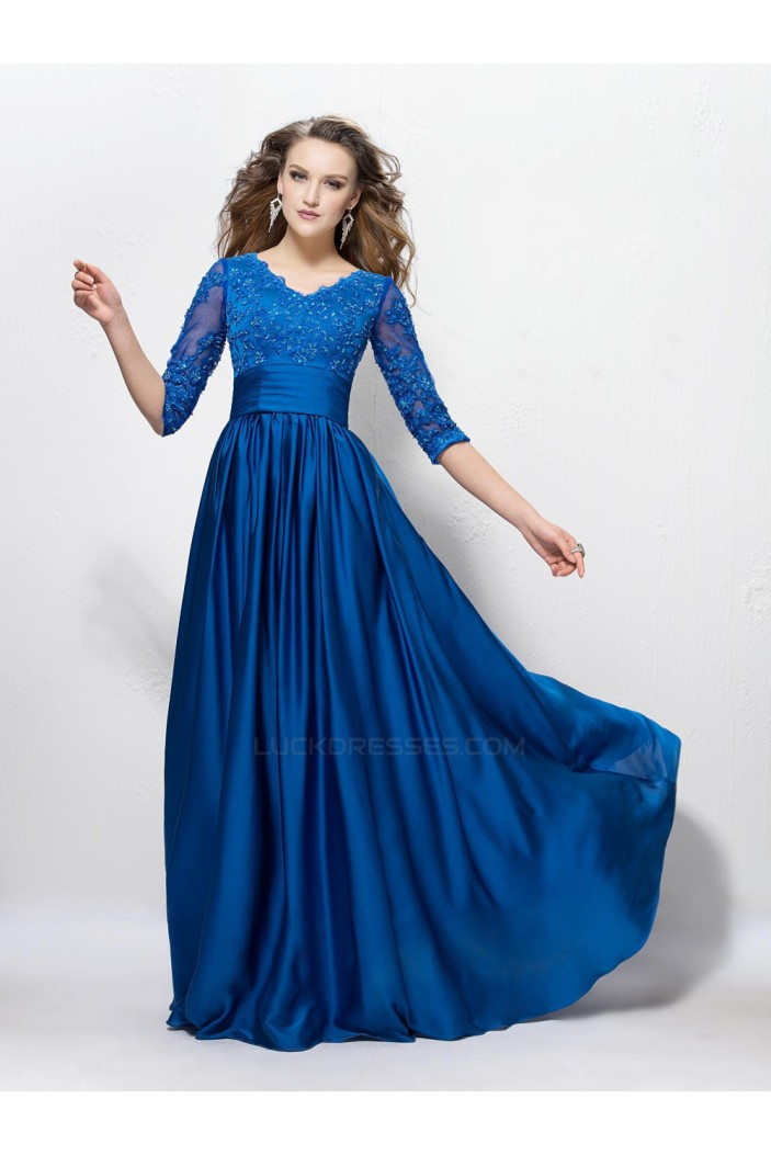 A-Line V-Neck Half Sleeve Lace Long Blue Prom Evening Formal Party Dresses ED010592