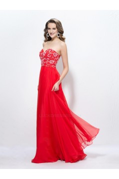 A-Line Sweetheart Beaded Long Red Chiffon Prom Evening Formal Party Dresses ED010593