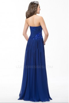 A-Line Sweetheart Beaded Long Blue Chiffon Prom Evening Formal Party Dresses ED010596