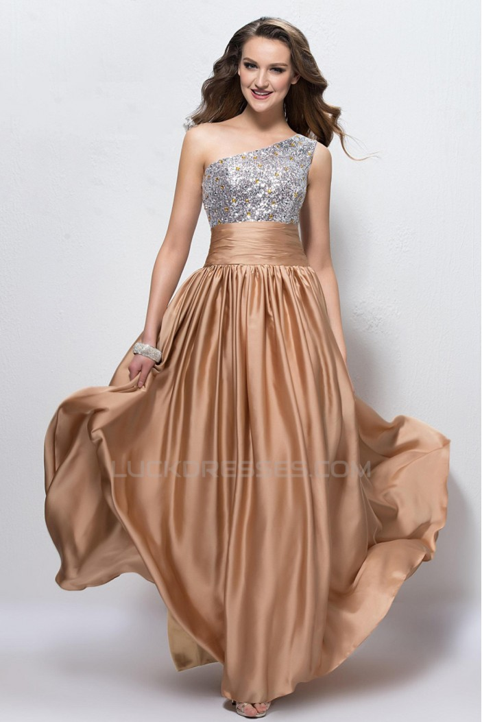 A-Line One-Shoulder Beaded Sequins Long Prom Evening Formal Party Dresses ED010597