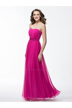 Sheath/Column Strapless Long Chiffon Prom Evening Formal Party Dresses ED010598