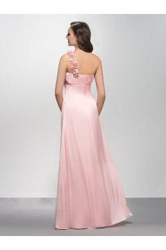 Empire One-Shoulder Long Pink Prom Evening Formal Party Dresses Maternity Evening Dresses ED010600