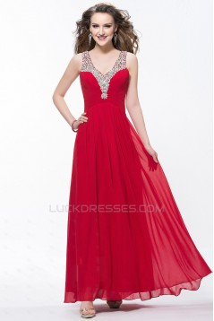 A-Line V-Neck Beaded Long Chiffon Prom Evening Formal Party Dresses ED010602