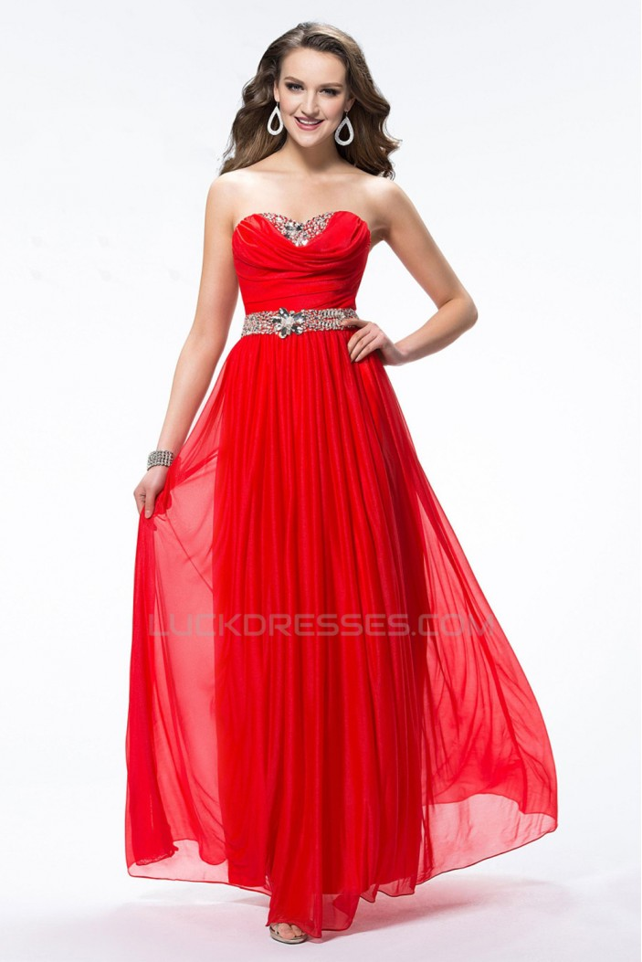 A-Line Sweetheart Beaded Long Red Chiffon Prom Evening Formal Party Dresses ED010606