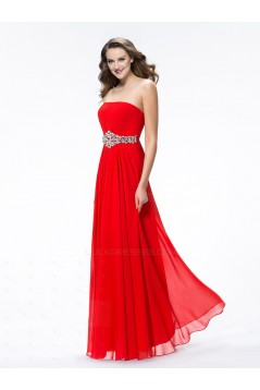 A-Line Strapless Beaded Long Red Chiffon Prom Evening Formal Party Dresses ED010607