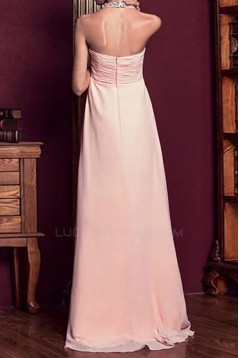 Empire Halter Beaded Long Pink Chiffon Prom Evening Formal Party Dresses ED010612