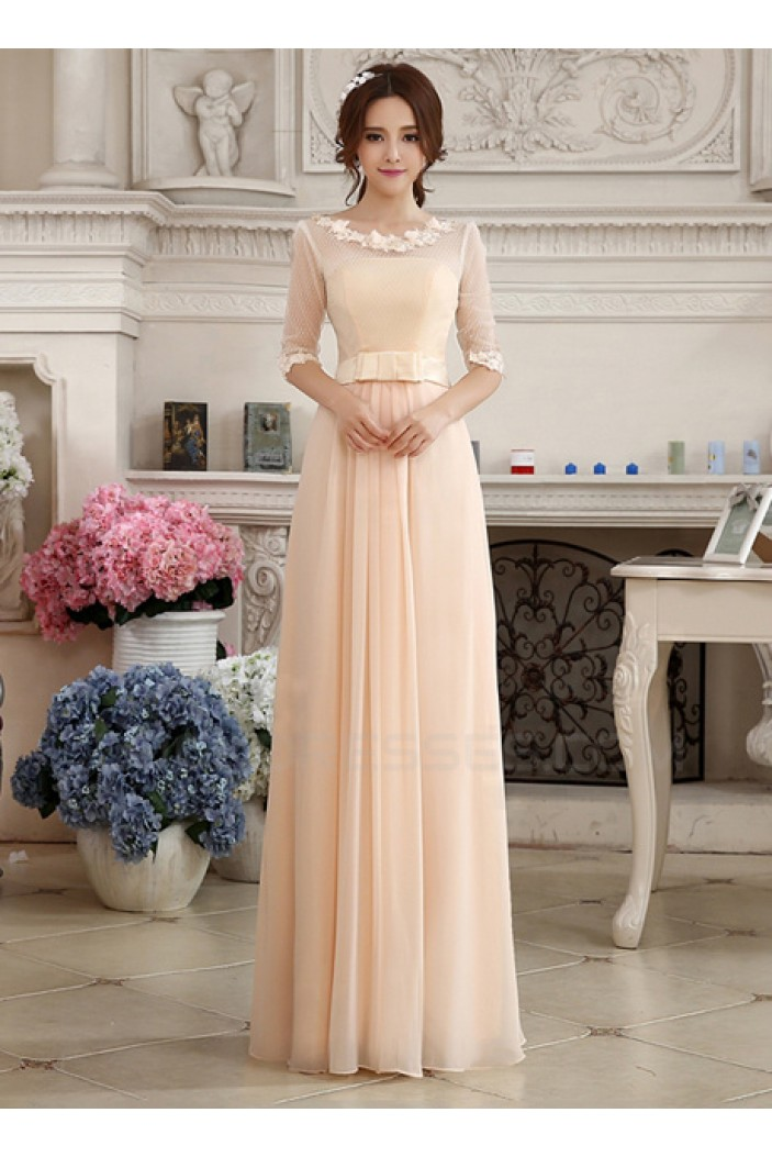 Sheath/Column Half Sleeve Bateau Long Chiffon Prom Evening Formal Party Dresses ED010613