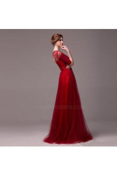 A-Line Half Sleeve Jewel Beaded Tulle Long Prom Evening Formal Party Dresses ED010618