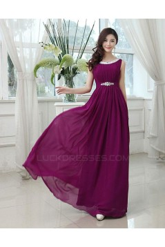 A-Line Bateau Beaded Purple Long Chiffon Prom Evening Formal Party Dresses ED010619