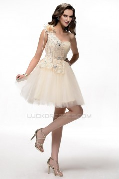 A-Line One-Shoulder Beaded Short Prom Evening Formal Party Dresses ED010620
