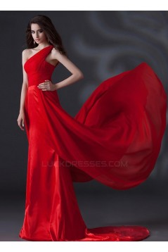 A-Line One-Shoulder Long Red Chiffon Prom Evening Formal Party Dresses ED010622