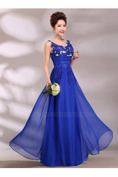 A-Line Appliques Long Blue Chiffon Prom Evening Formal Party Dresses ED010623