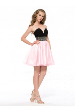A-Line Sweetheart Beaded Black Pink Short Chiffon Prom Evening Cocktail Homecoming Party Dresses ED010624