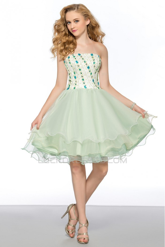 A-Line Strapless Short Beaded Prom Evening Cocktail Homecoming Party Dresses ED010627