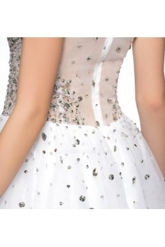 Modest Short White Beaded Prom Evening Cocktail Homecoming Party Dresses ED010628