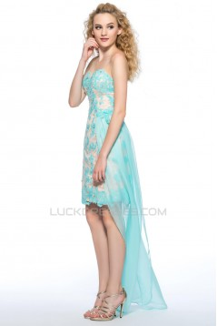 High Low Sweetheart Beaded Lace Applique Blue Prom Evening Cocktail Homecoming Party Dresses ED010629