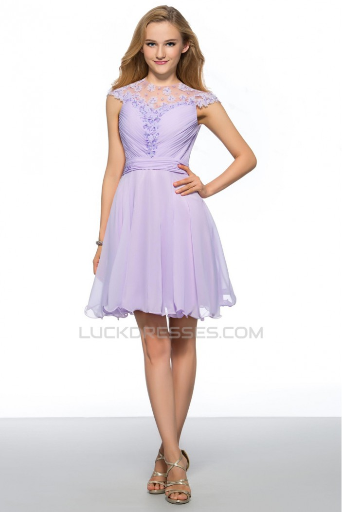 A-Line Short Jewel Beaded Chiffon Prom Evening Cocktail Homecoming Party Dresses ED010632