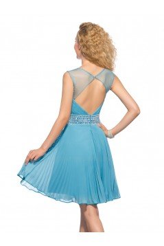 A-Line Short Blue Beaded Chiffon Prom Evening Cocktail Homecoming Party Dresses ED010633