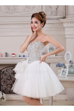 A-Line Sweetheart Short White Beaded Prom Evening Cocktail Homecoming Party Dresses ED010634