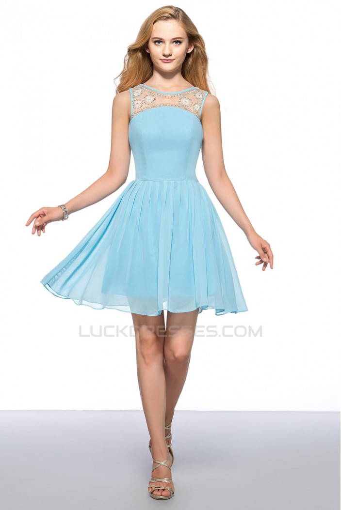 A-Line Short Bateau Blue Beaded Prom Evening Cocktail Homecoming Party Dresses ED010635