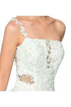 One-Shoulder Lace Appliques White Blue Beaded Prom Evening Cocktail Homecoming Party Dresses ED010637