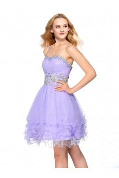 A-Line Strapless Short Beaded Prom Evening Cocktail Homecoming Party Dresses ED010639