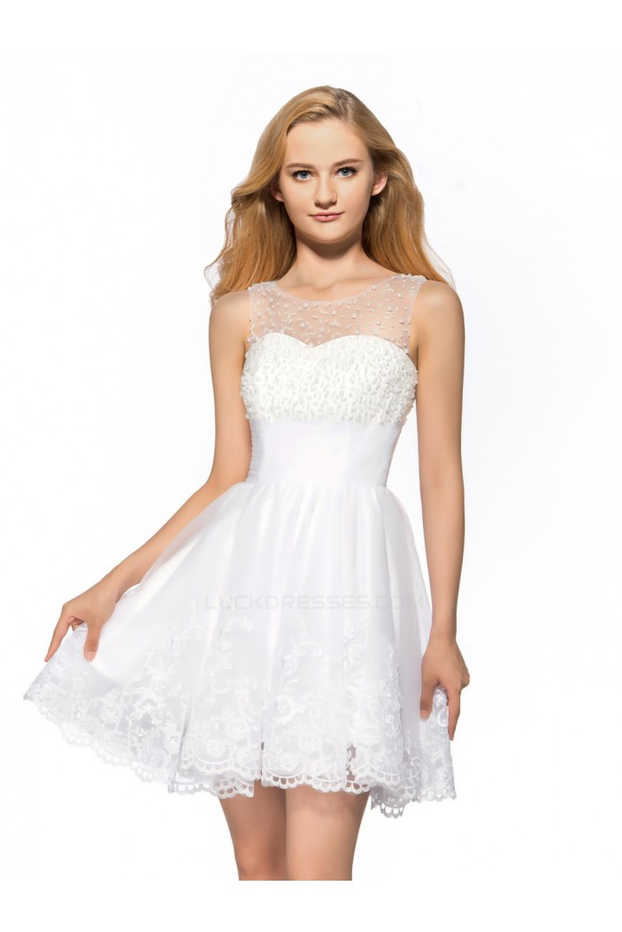 A-Line Short Beaded White Prom Evening Cocktail Homecoming Party Dresses ED010640