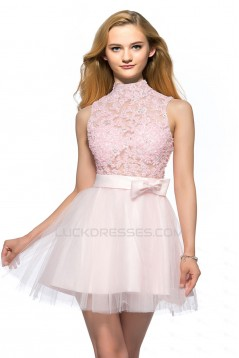 A-Line High-Neck Short Pink Applique Beaded Prom Evening Cocktail Homecoming Party Dresses ED010641