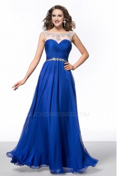 A-Line Bateau Beaded Long Blue Chiffon Prom Evening Formal Party Dresses ED010644